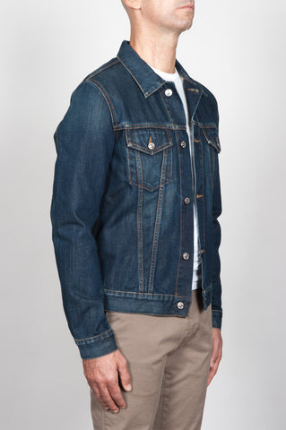 Strategic Business Unit - 00055 - Giubbino Jeans In Denim Giapponese Indaco Stone Washed - Jeans Jacket In Japanese Denim Indigo Dyed Stone Washed - 日本のデニムのインディゴ染めストーンウォッシュジーンズジャケット