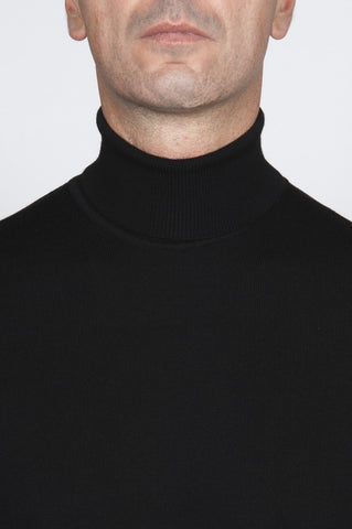 Strategic Business Unit - 00041 - Pullover Collo Alto Classico Nero In Lana Merino Extrafine - Classic Turtleneck Sweater In Black Merino Wool Extrafine - ブラックメリノウール極細クラシックタートルネックのセーター