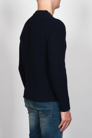Strategic Business Unit - 00060 - Pullover Girocollo Classico Blue Navy In Pura Lana - Classic Crew Neck Sweater In Blue Navy Pure Wool - 青純毛クラシッククルーネックセーター