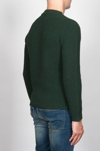 Strategic Business Unit - 00059 - Pullover Girocollo Classico Verde In Pura Lana - Classic Crew Neck Sweater In Green Pure Wool - 緑の純粋なウールクラシッククルーネックセーター