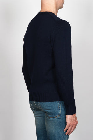 Strategic Business Unit - 00052 - Pullover Girocollo Classico Blue In Lana Merino 4 Fili - Classic Crew Neck Sweater In Blue Merino Wool - グレーのヘリンボーン新しいウールシングルブレスト裏地なしジャケット