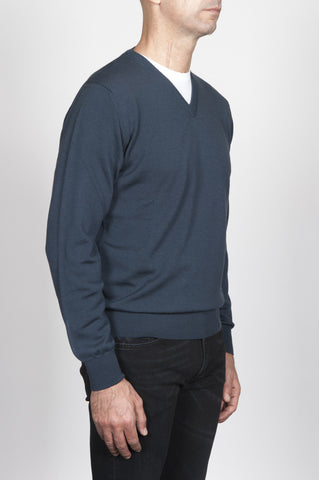 Strategic Business Unit - 00015 - Pullover Classico Grigio In Lana Merino Scollo A V - Classic V-Neck Sweater In Grey Merino Wool - クラシックなVネックセーターグレーメリノウール