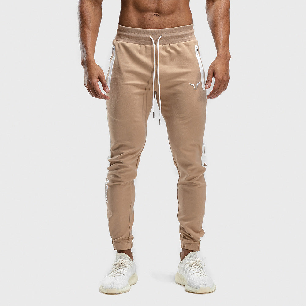 Squat Wolf - Hype Joggers - Beige with White Panel - SQ0011-B-M