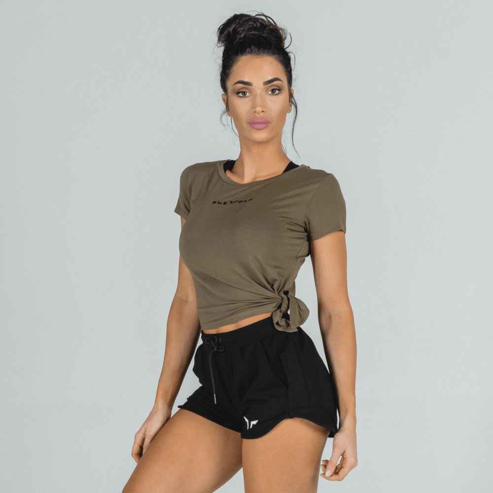Squat Wolf she-wolf crop top olive