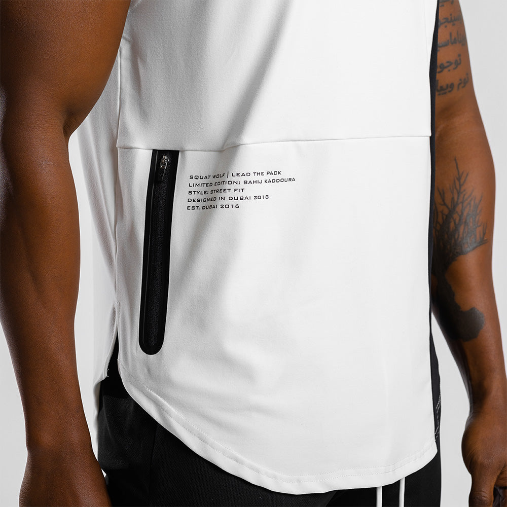 Squat Wolf - Hype Tank Top - White with Black Panel - SQ0013-WB-M