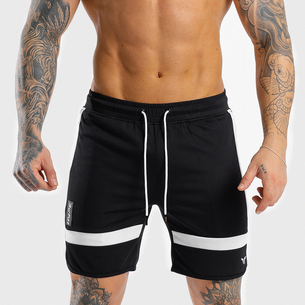 Squat Wolf - Hype Gym Shorts - Black with White Panel - SQ0010-BLK-M