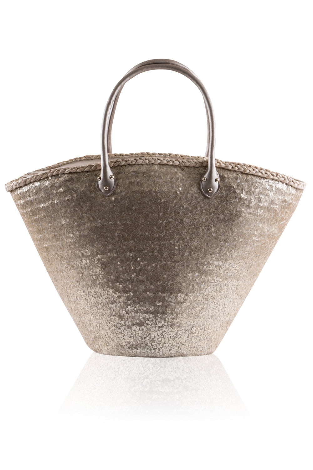 South Beach - Gold Sequinned Basket Bag