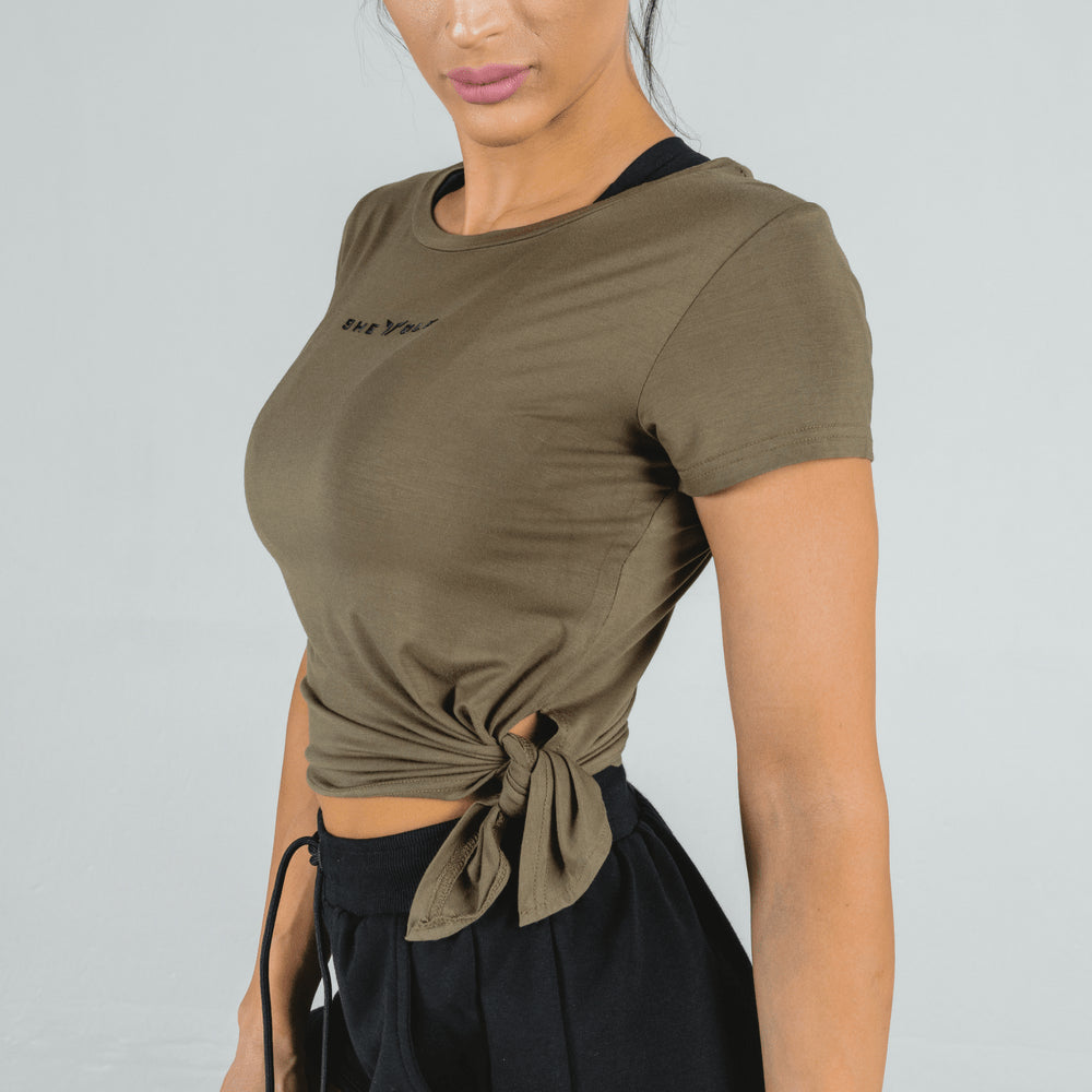 Squat Wolf - She-Wolf Crop Top - Olive