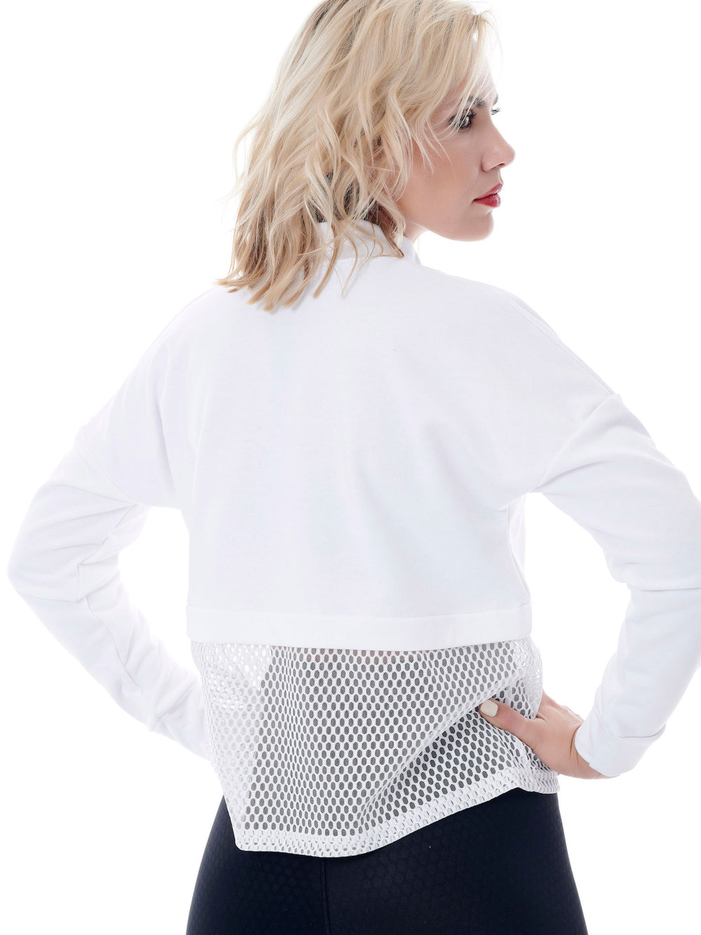 Crop sport mesh panelled sweater white