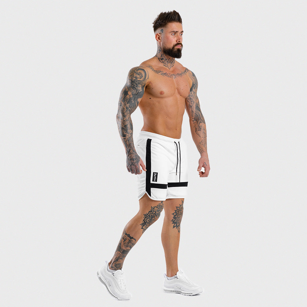 Squat Wolf - Hype Gym Shorts - White with Black Panel
