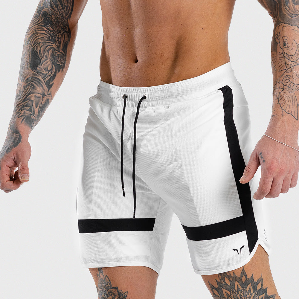 Squat Wolf - Hype Gym Shorts - White with Black Panel - SQ0010-WHT-M