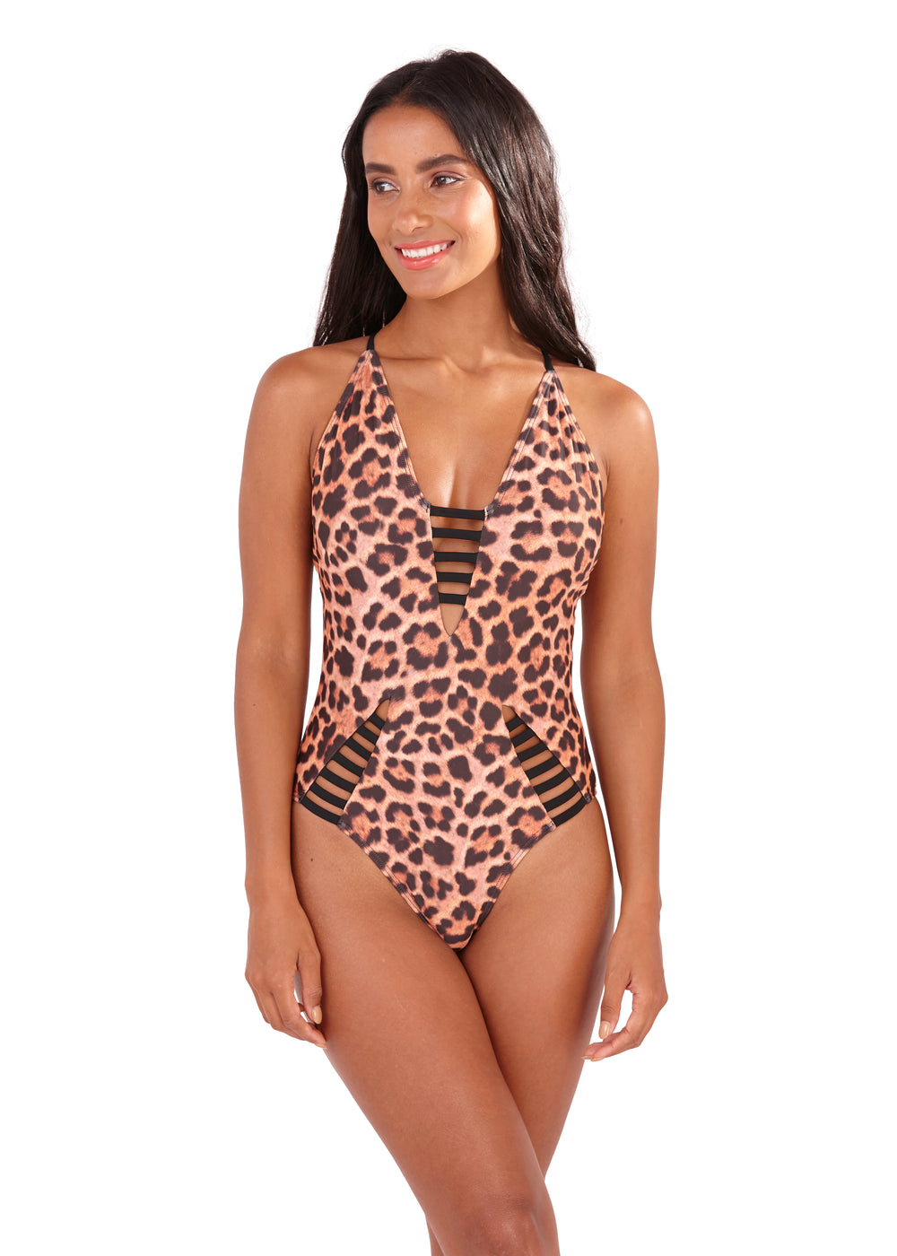 South Beach - Amie Leopard Print Ladder Swimsuit - SB0001-L-F