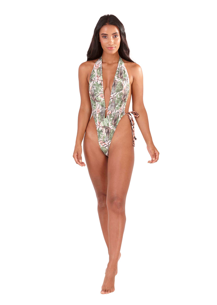 699bf836aa South Beach - Francesca Safari Print Extreme Plunge Swimsuit – Most Wanted