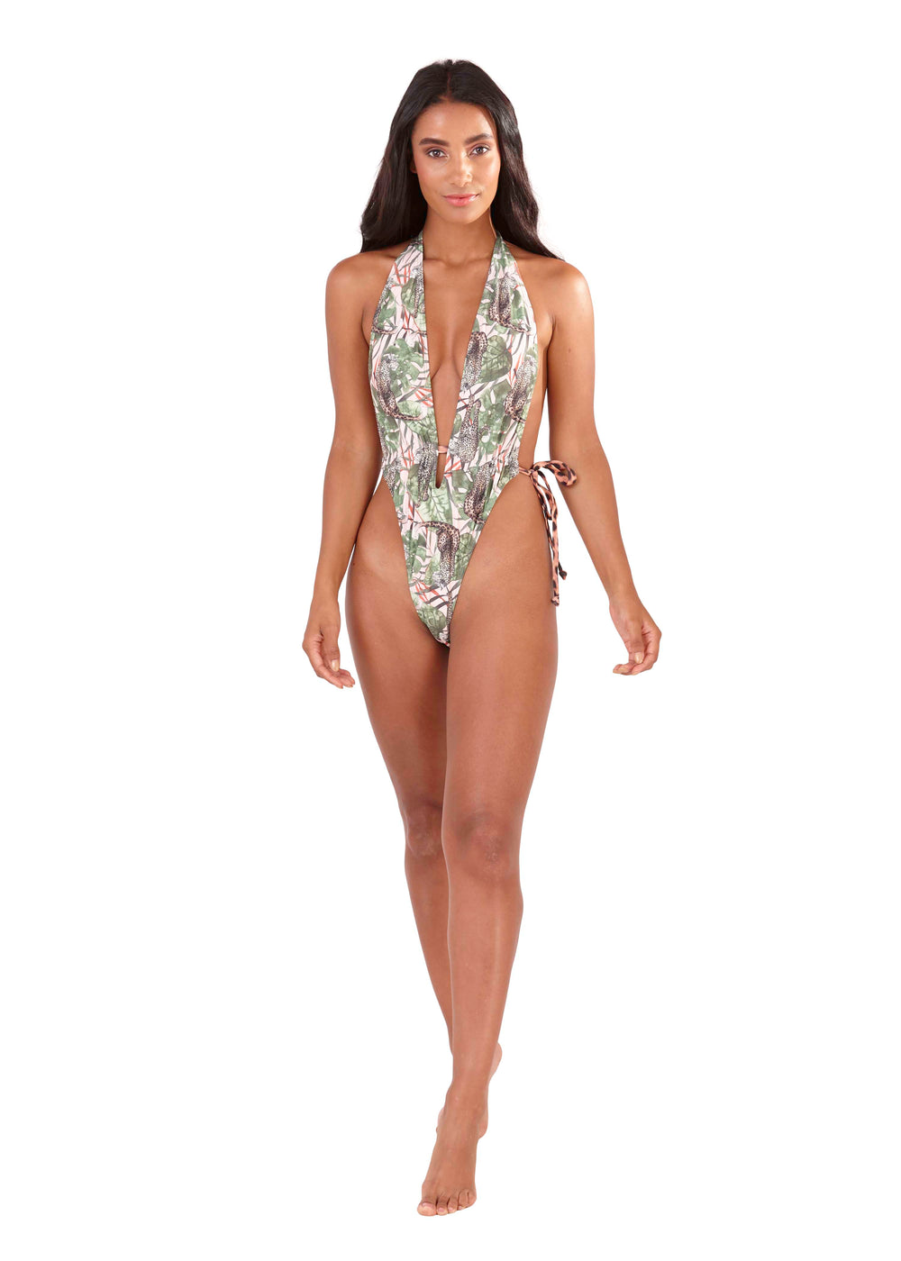 Francesca Safari Print extreme plunge swimsuit