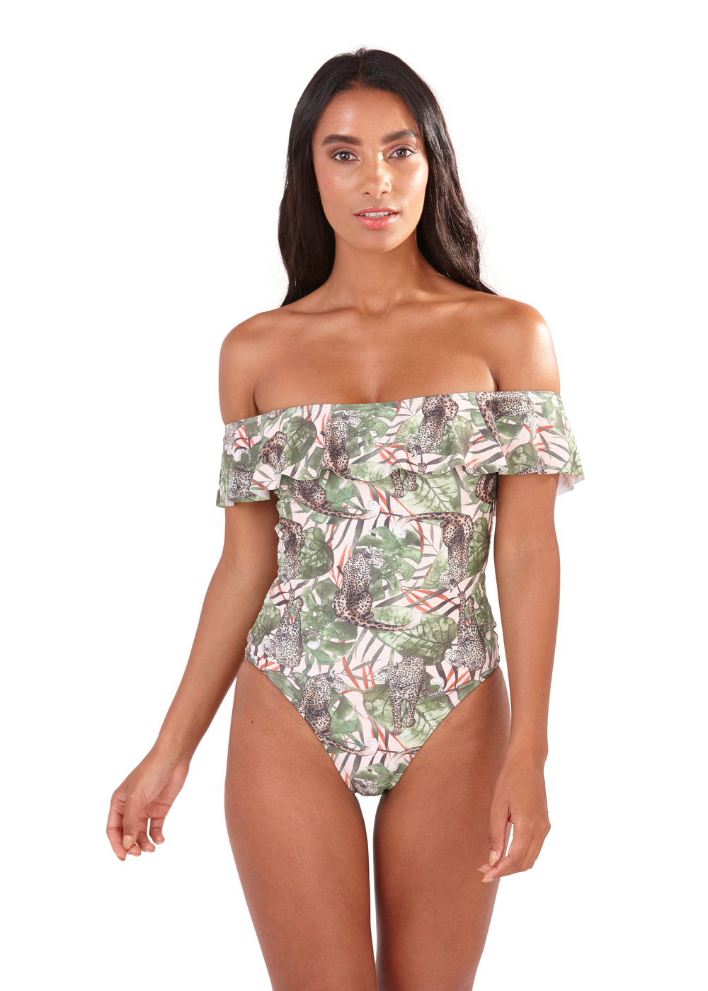 South Beach - Ferne Safari Print Off the Shoulder Frill Bardot Swimsuit