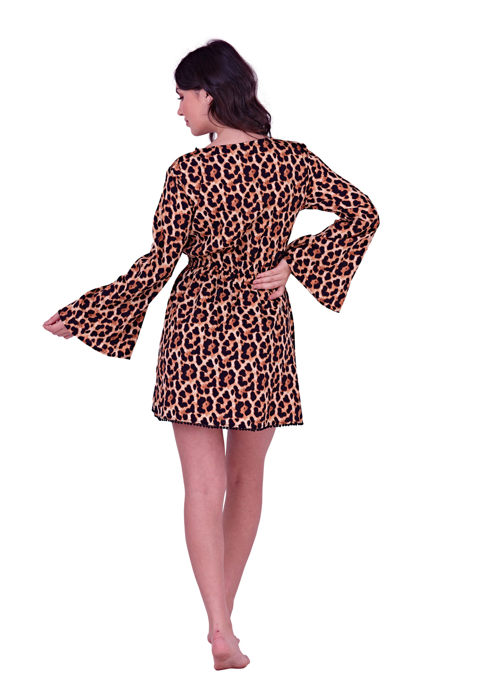 South Beach - Leopard Print Wrap Beach Dress - SB0013-L-F