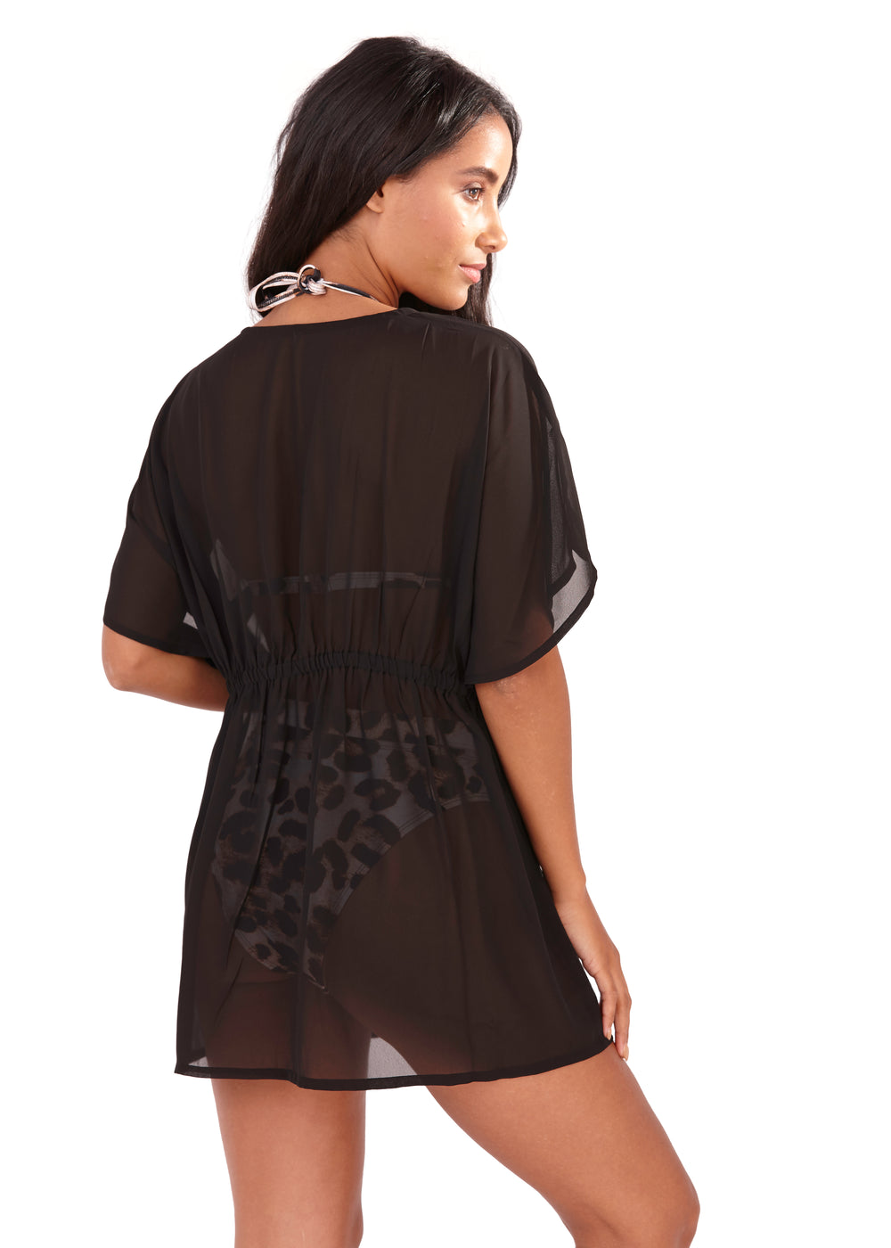 South Beach Black Chiffon Tie Front Kaftan with mirror detail