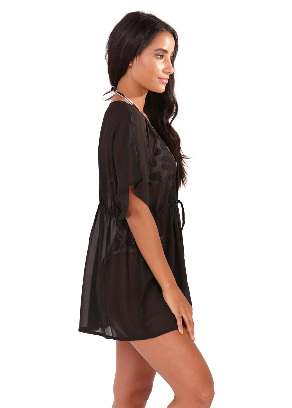 South Beach - Black Chiffon Tie Front Kaftan with mirror detail side