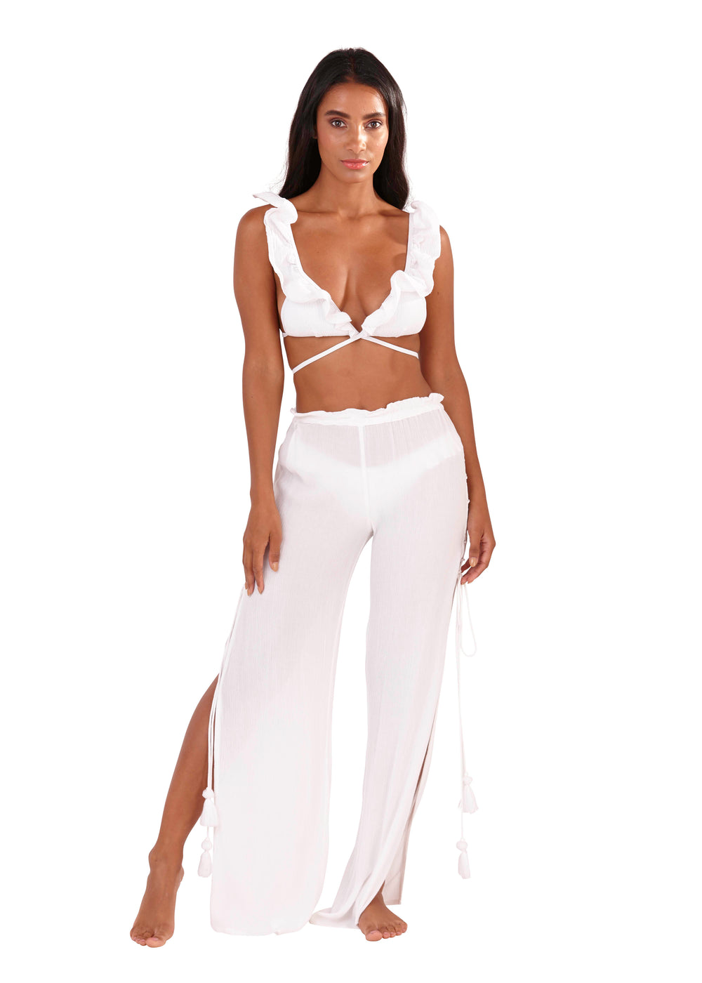 South Beach - White Chiffon Beach Pants