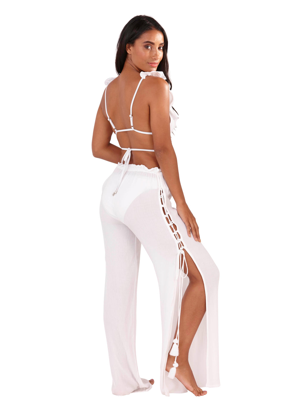 South Beach - White Chiffon Beach Pants - SB0018-W-F