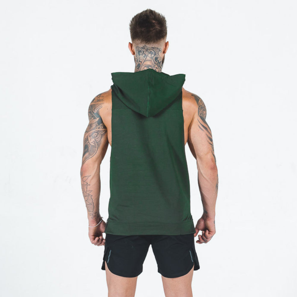 Squat Wolf - Apollo Sleeveless Hoodie - Olive - SQ0001-O-M