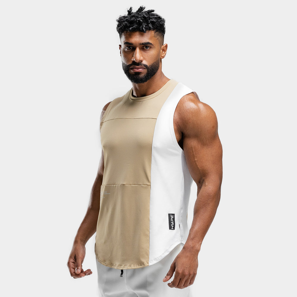 Squat Wolf - Hype Tank Top - Beige with White Panel - SQ0013-B-M