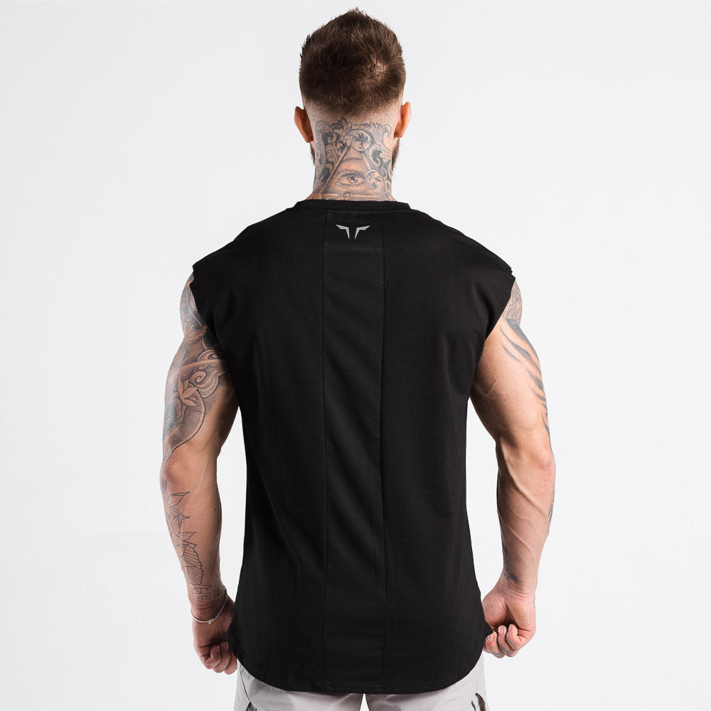 Squat Wolf - Statement Drop Shoulder Top - Black - SQ0024-BLK-M