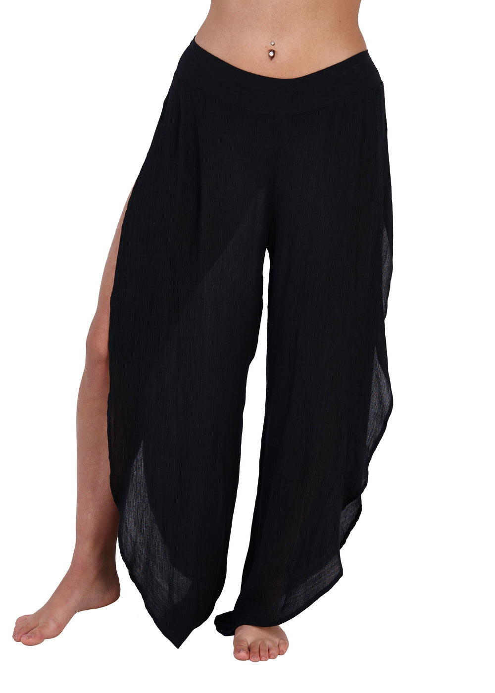 South Beach - Black Chiffon Beach Pants