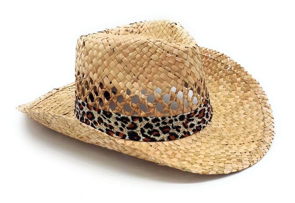 Leopard band straw hat - HA-L-OS-F-A