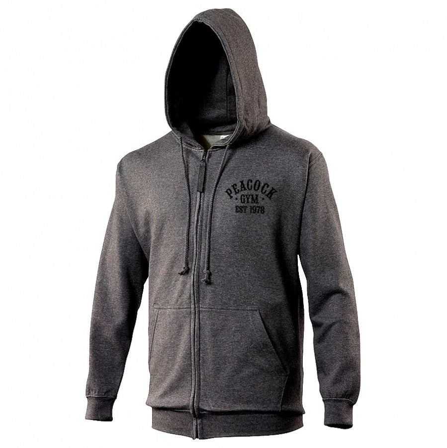 Peacock Gym Zip Hoodie Charcoal