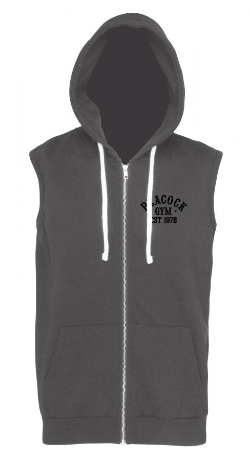 Peacock Gym Sleeveless Hoodie Charcoal