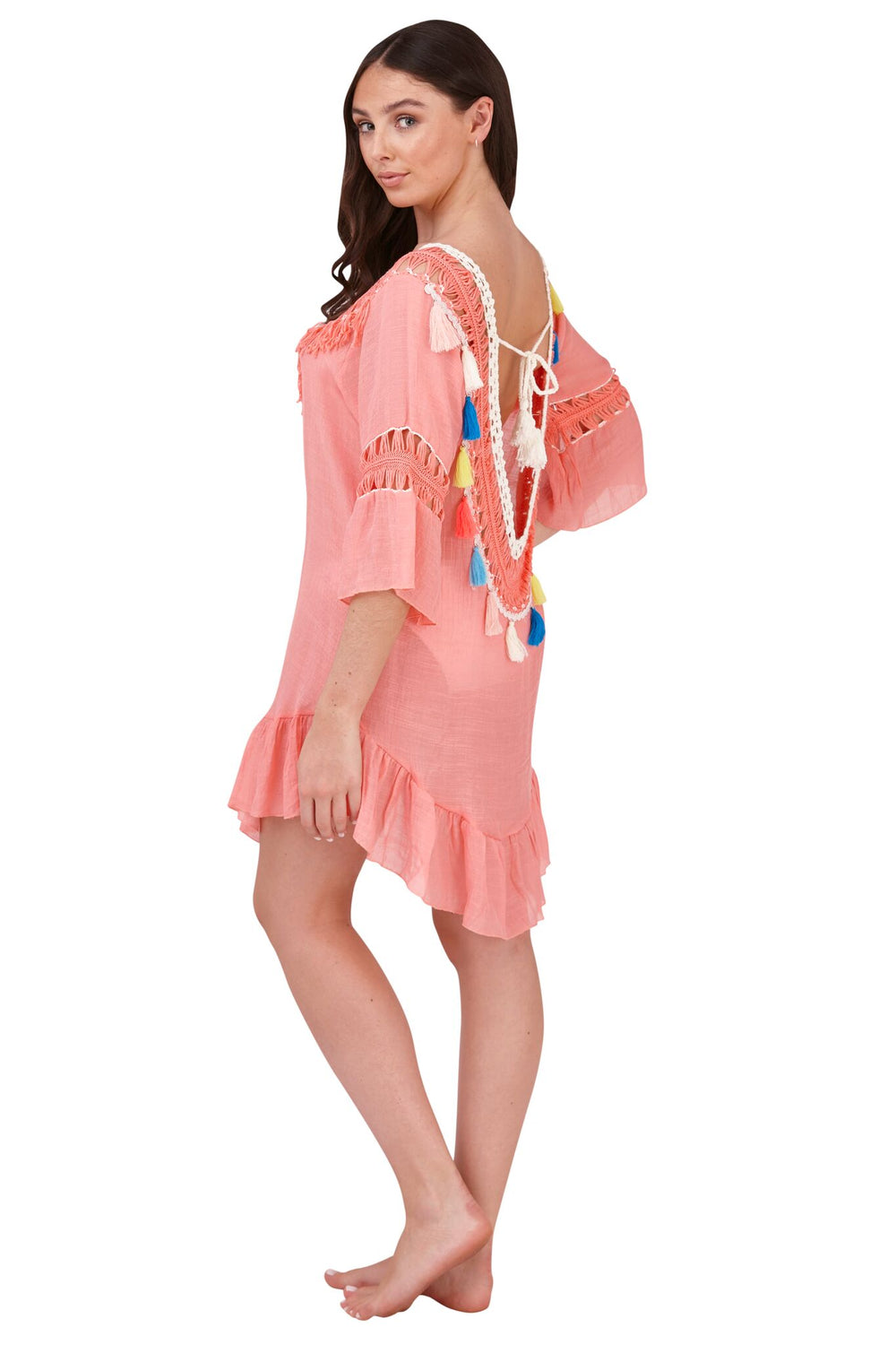 South Beach - Boutique Peach Crochet Tassel Beach Dress - SB0003-P-F