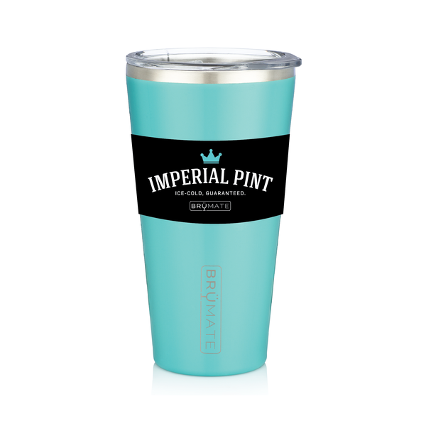BRÜMATE Imperial Pint - Aqua by: Northwest Snap, Inc. Customized with Your Personalization