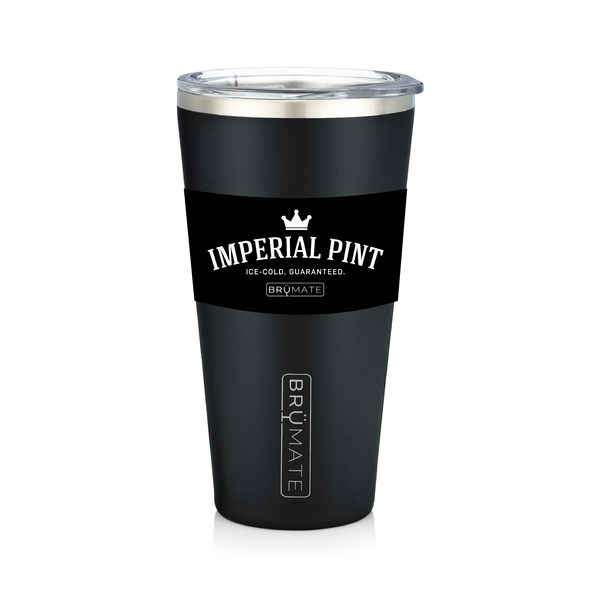 BRÜMATE Imperial Pint - Matte Black by: Northwest Snap, Inc. Customized with Your Personalization