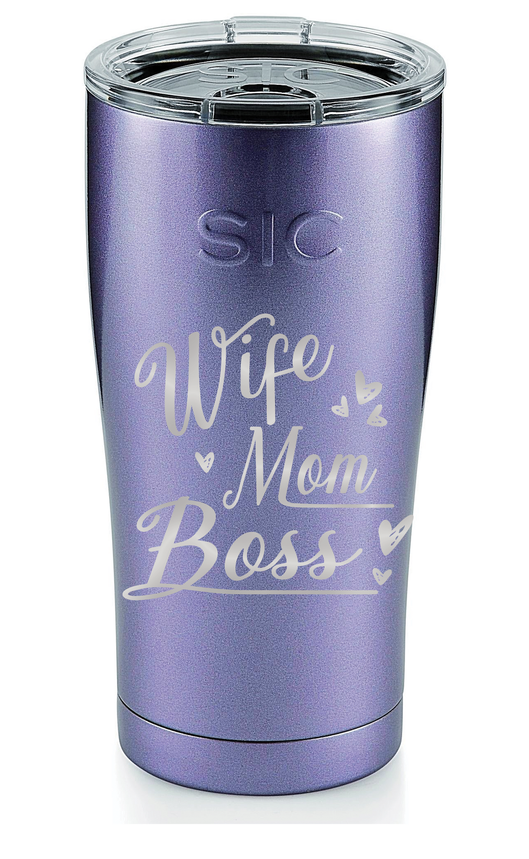 Personalized Wife,Mom, Boss SIC 20oz Tumbler - Ultraviolet Glitter by: Northwest Snap, Inc. Customized with Your Personalization