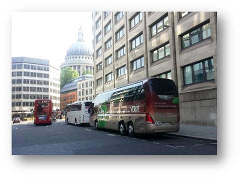 Coaches parked near to St Paul's London