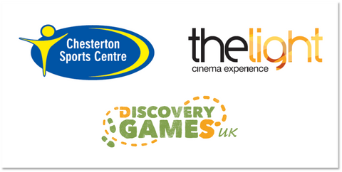 Prize sponsor logos The Light Cinema, Chesterton Sports Centre, Discovery Games UK
