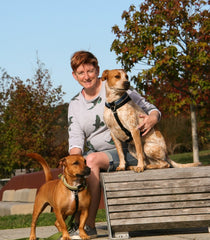 Helen with her dogs Sprinkles and Buzz Chief taste testers