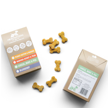 Load image into Gallery viewer, Peanut butter and banana dog treats 100% natural baked biscuit treats made in New Zealand