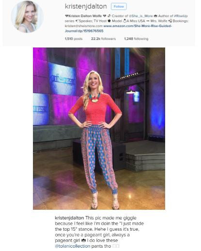 Kristen Dalton is workin' it in Tolani's Caroline Pants in Royal