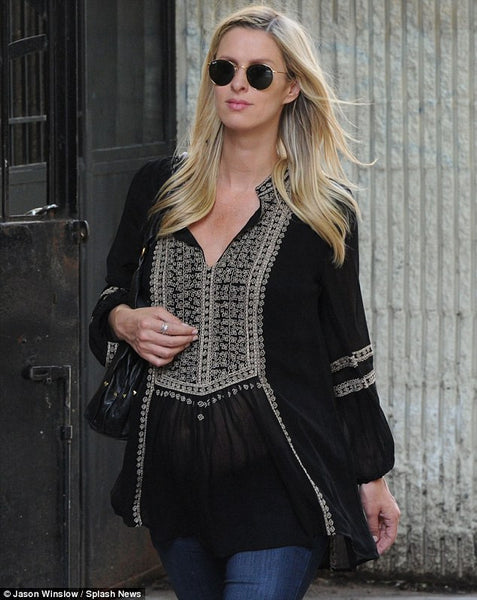 Nicky Hilton featured in DailMail.com in Tolani's Lauren Black Embroidered Top