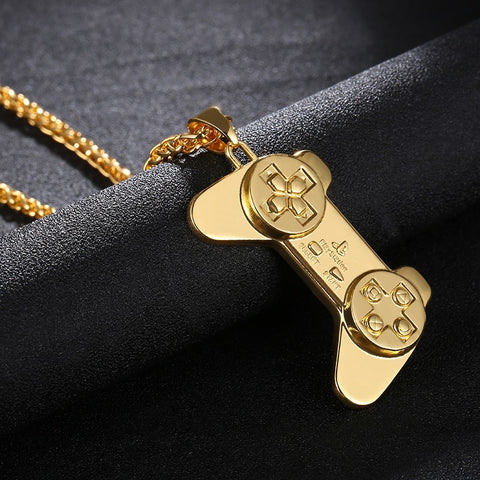Gold Game Controller Necklace & Pendant