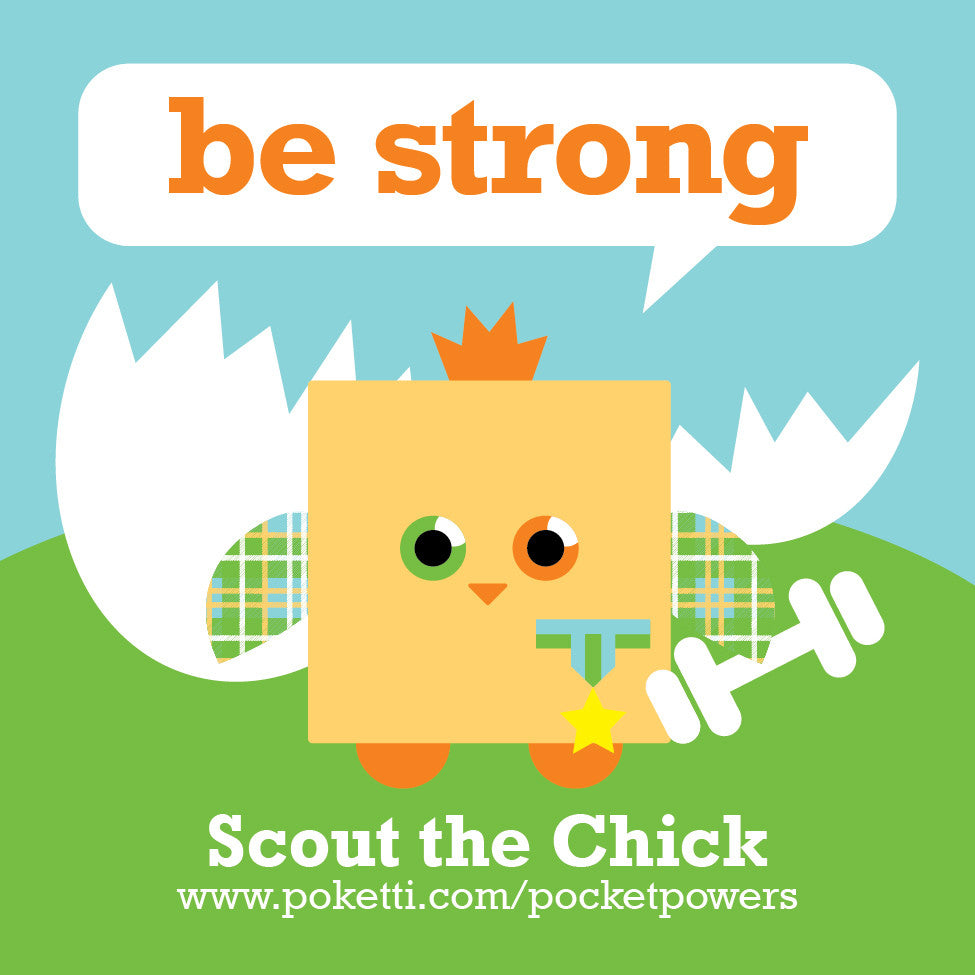 Poketti Plushies Scout the Chick inspires kids to Be Strong with stickers in the pocket