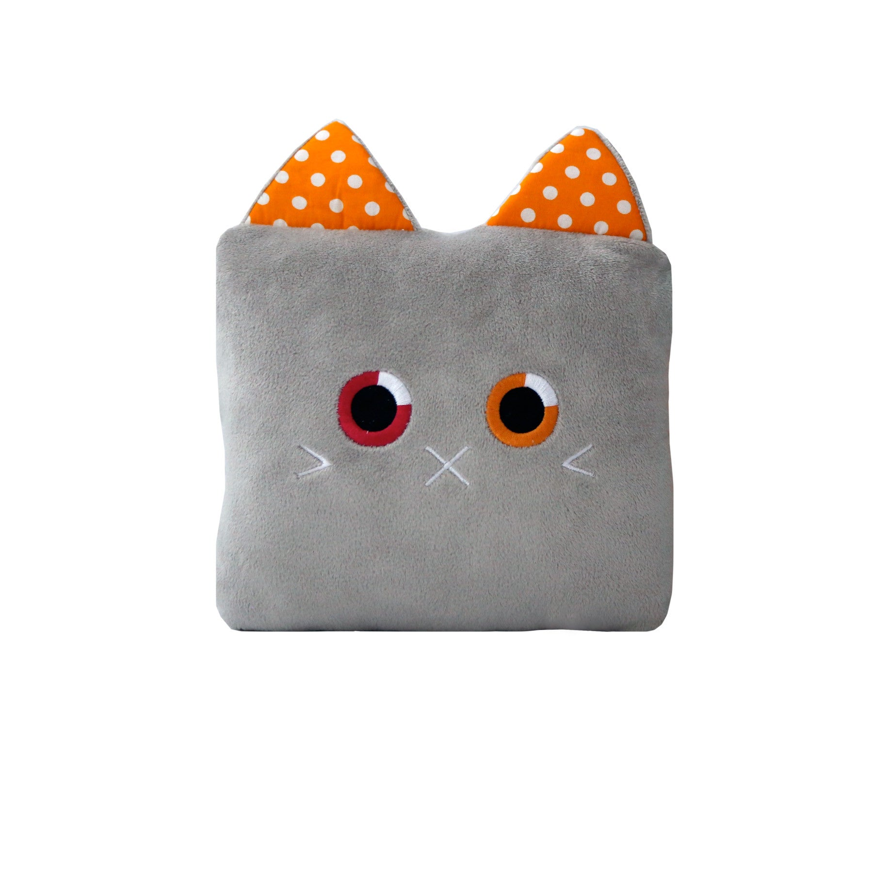 Poketti Kitty Cat Plush Pillow with a Pocket - Front