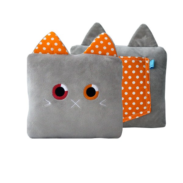Poketti Kitty Cat Plush Pillow with a Pocket