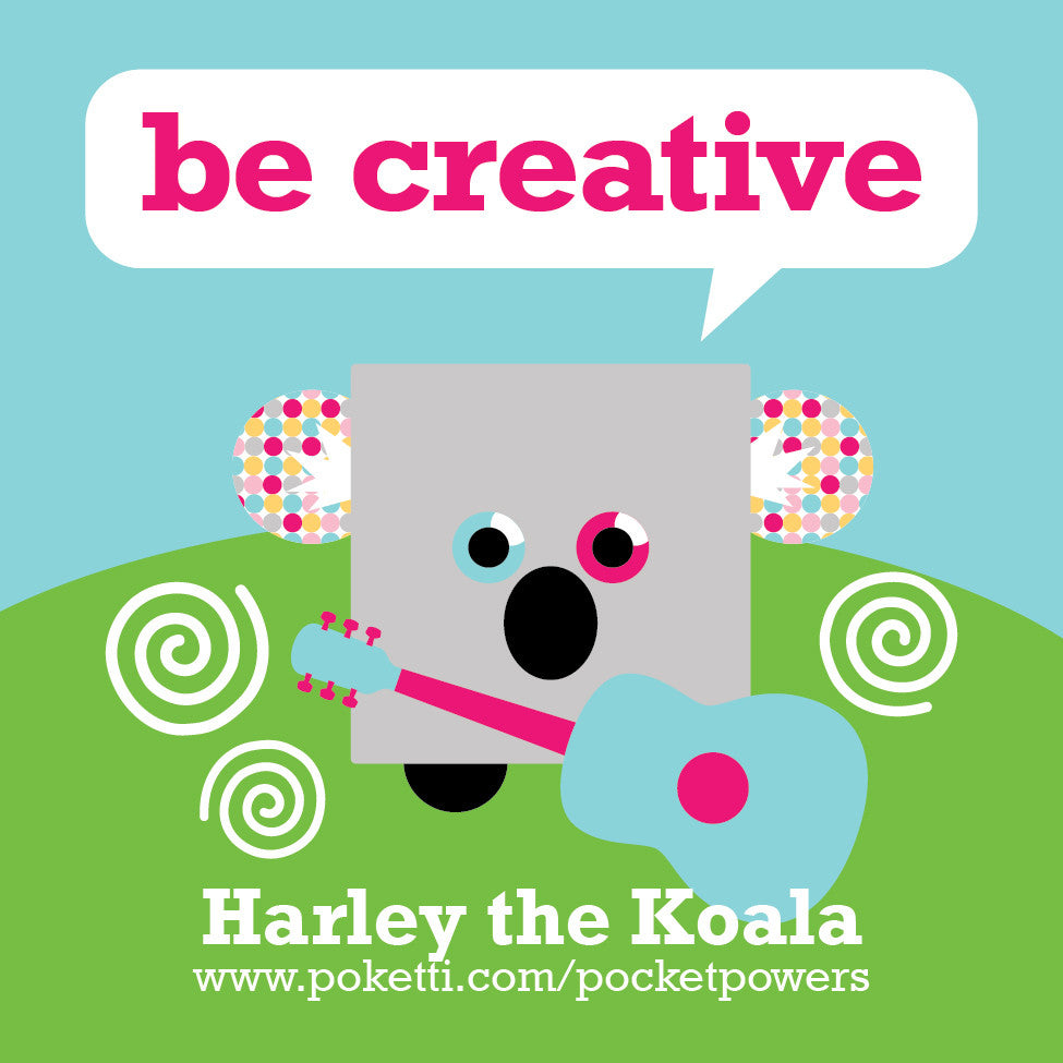 Poketti Plushies Harley the Koala inspires kids to Be Creative with stickers in the pocket