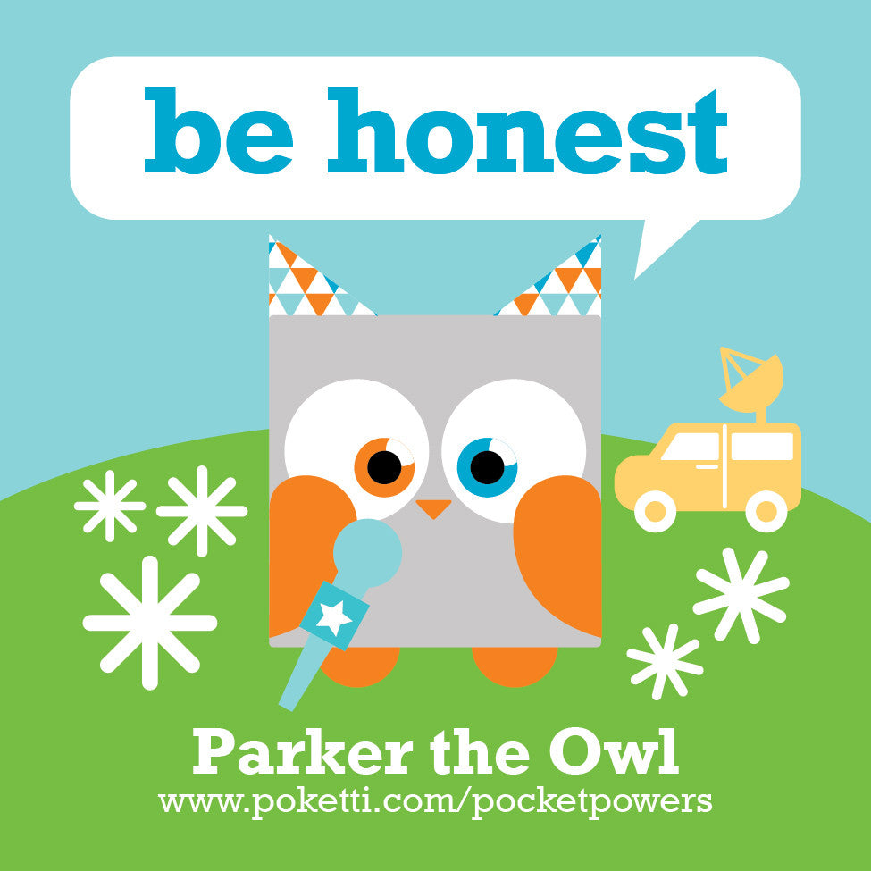 Poketti Owl comes with Be Honest Pocket Power stickers in the back pocket