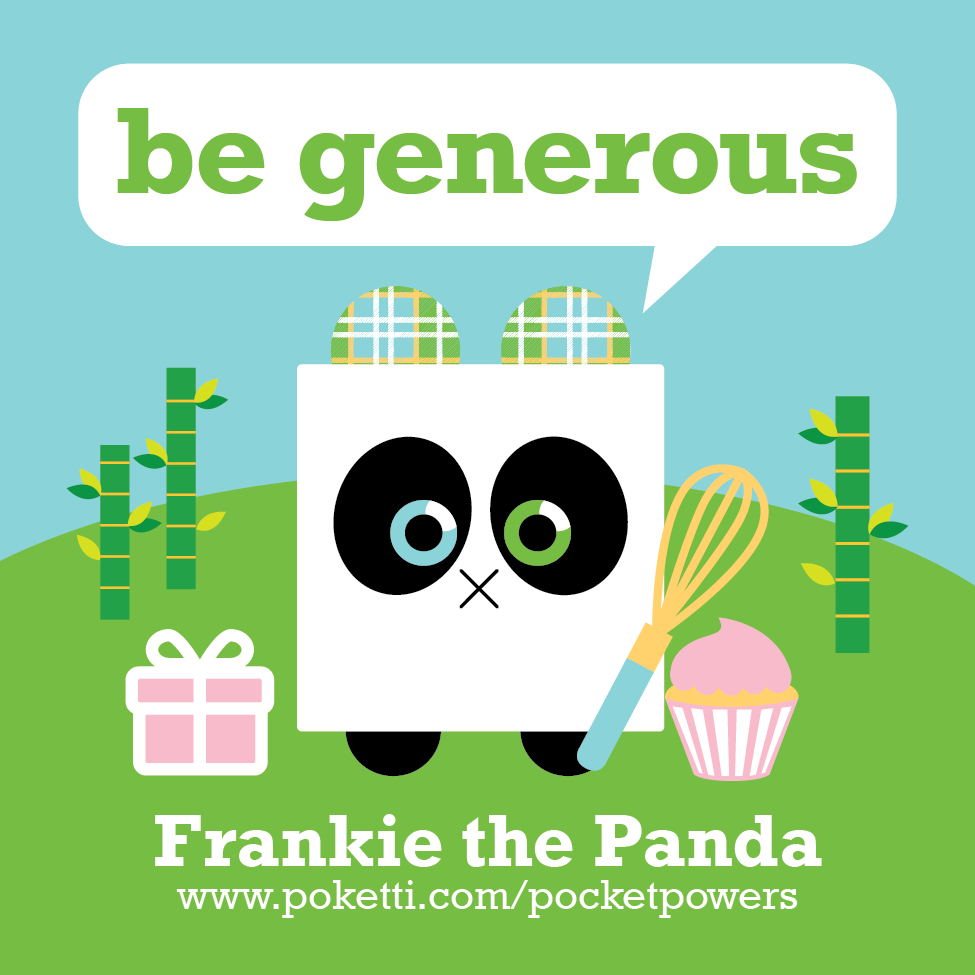 Poketti Frankie the Panda comes with Be Generous stickers in the back pocket