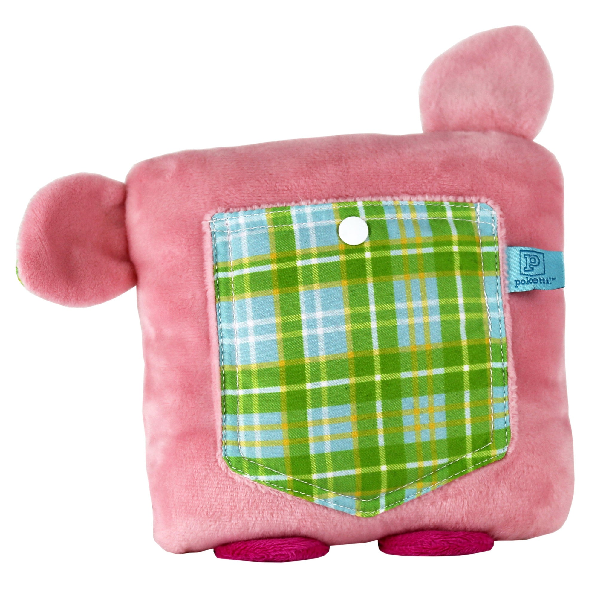Plush toy pig stuffed animal with a useful back pocket - pocket detail