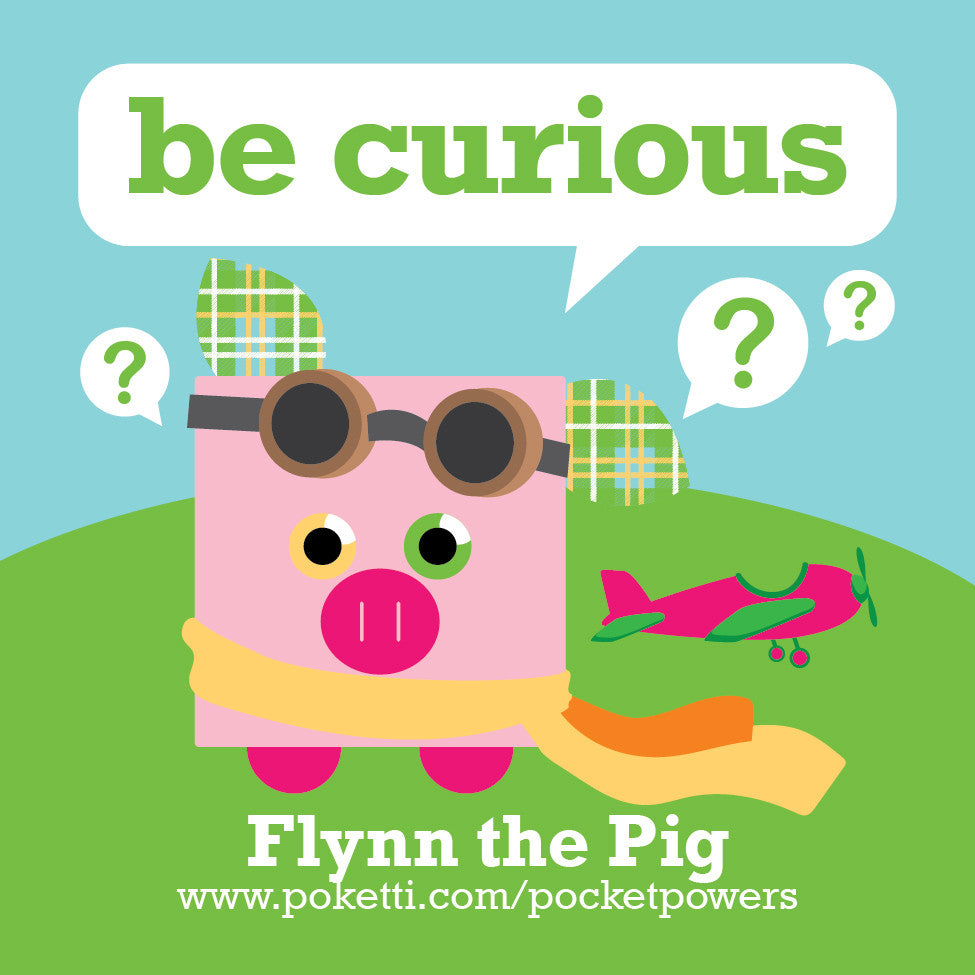 Plush toy pig comes with Be Curious stickers in the back pocket